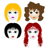 Women portraits - cartoon style Stock Image