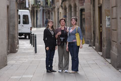 Women poses in gothic quarter of Barcelona Royalty Free Stock Photography