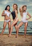 Women posing on the beach Royalty Free Stock Photos