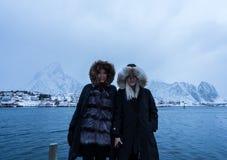 Free Women Posing In The Mountains Of The Lofoten Islands. Reine, Norway Royalty Free Stock Photo - 129405125