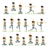 Women posing pose yoga. Set characters girls exercises yoga,  on white background. People banner healthy lifestyle vector illustration Stock Images