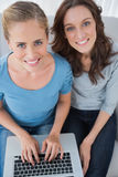 Women posing while surfing the net Royalty Free Stock Photo