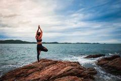 Women practicing yoga royalty free stock photos