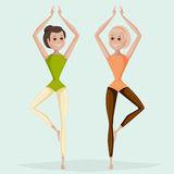 Women practicing yoga. Cartoon vector Stock Images