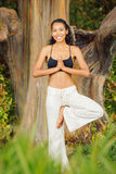 Women practicing yoga in nature, outdoors Stock Photo