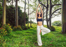 Women practicing yoga in nature, outdoors Stock Image