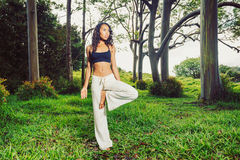 Women practicing yoga in nature, outdoors Stock Photos