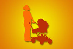 Women with pram Royalty Free Stock Images