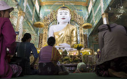 Women praying in temple, Myanmar Royalty Free Stock Photography
