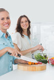 Women preparing a salad together smiling at camera Royalty Free Stock Images