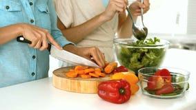 Women preparing a vegetarian salad stock video