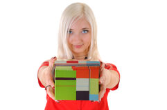 Woman with present Stock Photography