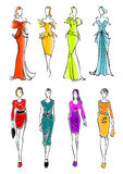 Women presenting dresses for work and leisure Stock Photo