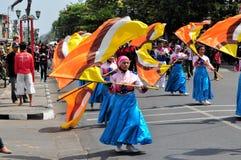 Women presenting flags, Yogyakarta city festival Stock Photo