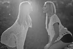 Women flirting on sunny day. Women or pretty twin girls, fashionable models, with blond, long hair in stylish, white sweaters flirting on sunny day on natural Stock Photography
