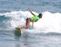 Women pro surf portrait, Liza Caban. Pro surf, Liza Caban, at the Corona Pro Surf Championship Circuit contest held at Middle Beach, Isabela, Puerto Rico Stock Photos