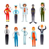 Women Professions Flat Characters Set. Women professions flat character set with police officer firefighter orchestra conductor navy sailor diver  vector Royalty Free Stock Image