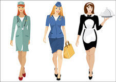 Women professions: waitress, air-hostess, nurse Royalty Free Stock Image