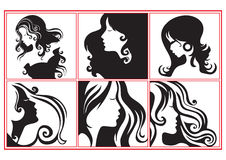 Women profiles. Collection of fashion women profiles illustration in black and white Stock Image
