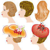 Women profiles with different hairstyles and hats Royalty Free Stock Photos