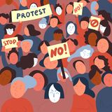 Women protest with stop and no signs.Demostrants. Women protesters with stop and no signs. Group of people protesting. Crowd fight for your rights. Concept of Royalty Free Stock Images