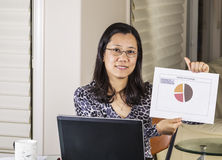 Women Proud of Data Results from Work Stock Photography