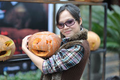Women and pumpkin Royalty Free Stock Photography