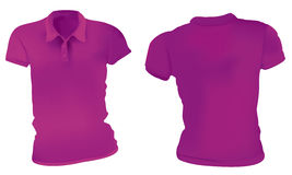Women Purple Polo Shirts Template Stock Images