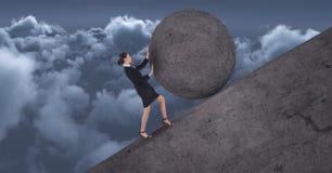 Women pushing rolling round rock stock illustration