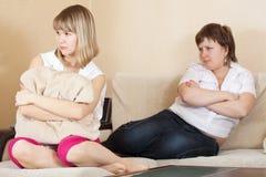 Women after quarrel at home Stock Photos