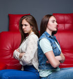 Women quarrel,two quarreling girlfriends Royalty Free Stock Image