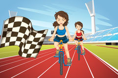 Women racing bike in the field. Illustration Stock Images