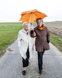 Women in rain under an umbrella Stock Images