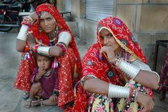 Women of Rajasthan In India. January 24, 2009-Jaisalmir, Rajasthan, India- Rajasthani women are known for their simplicity, beauty and valor all over the world Stock Images