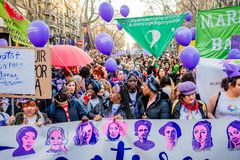 Barcelona, Spain - 8 march 2019:  crows of women rally in the city center during woman`s day for better human rights for women an stock image
