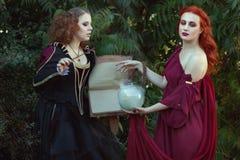 Women read a magic book and utter spells. Women read a magic book and utter spells, they are witches Stock Photo