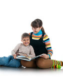 Women Read The Book To Her Son Stock Image
