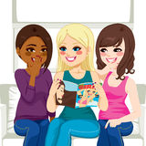 Women Reading Fashion Gossip Magazine. Three beautiful young women reading fashion and gossip magazine chatting and having fun vector illustration