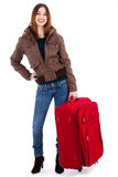Women ready for travel carrying her suitcase Royalty Free Stock Photos