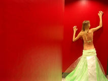 Women in red bathroom Stock Images