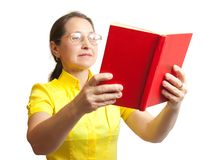 Women with red book Royalty Free Stock Photography