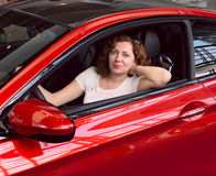 Women in red car Royalty Free Stock Photos