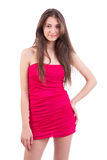 Women in red dress. Beautiful woman in red dress  isolated on   white background Royalty Free Stock Images