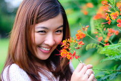 Women - Red flower. Inlove - Women and Red flower Stock Photos