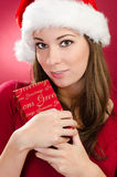 Women with red gift for christmas Royalty Free Stock Photos