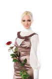 Women with red rose Royalty Free Stock Image
