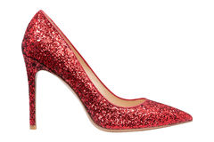 Women  red shoes with glitter. Isolated white background Royalty Free Stock Images