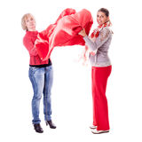 Women with red silk Stock Image