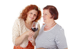 Women with red wine Stock Photography