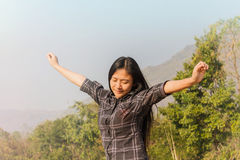 Women relax in nature, freedom concept Stock Photos